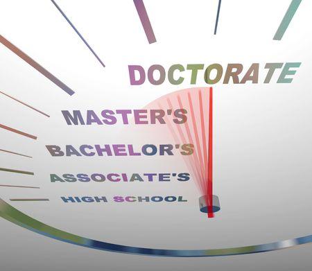 onderwijs: Een snelheidsmeter geeft de verschillende niveaus van hogeschooldiploma
