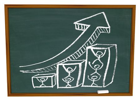 A team working together to raise a growth arrow, drawn on a chalkboard Stock Photo - 5198821