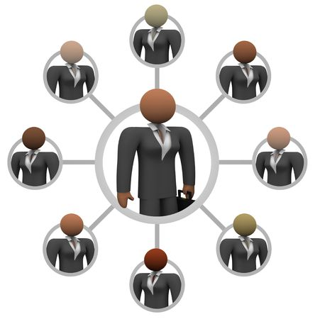 mentors: Illustration of a network of business women, linked together for communication and mentoring