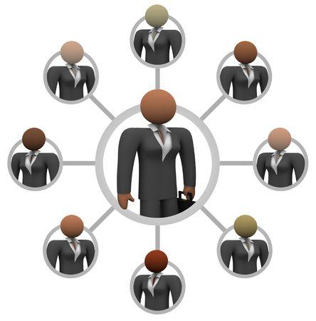 comunicarse: Ilustraci�n de una red de mujeres de negocios, unidas entre s� para la comunicaci�n y la tutor�a