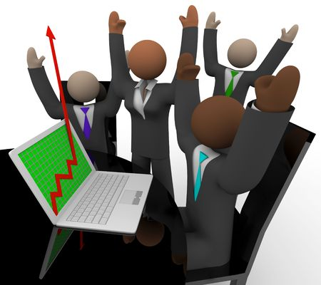 sales person: A business team gathers around a laptop during a meeting and cheers as they watch their growth arrow rise
