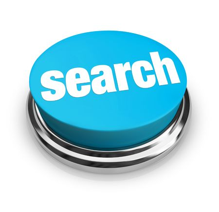 clues: A blue button with the word Search on it Stock Photo