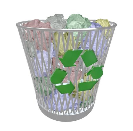 trashed: A metal recycling basket contains many crumpled up colored papers, symbolizing the recycling movement