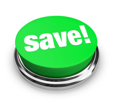 A green button with the word Save! on it Stock Photo - 5263227