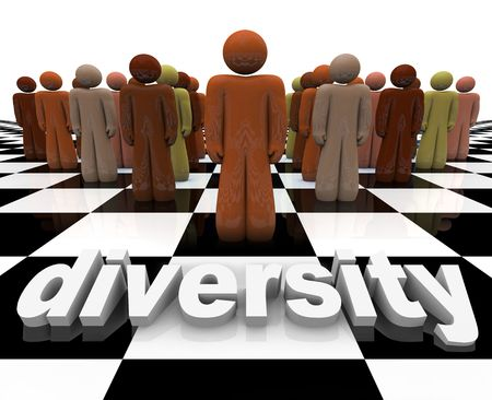 socially: The word Diversity on a chessboard with a line-up of many people of different races.