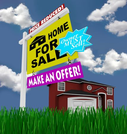A home for sale sign stands in front of a red house, with green grass and blue skies Stock Photo - 5317534