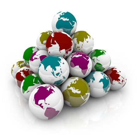 A pyramid of shiny marbles with colorful planet Earth designs on them Stock Photo - 5317516