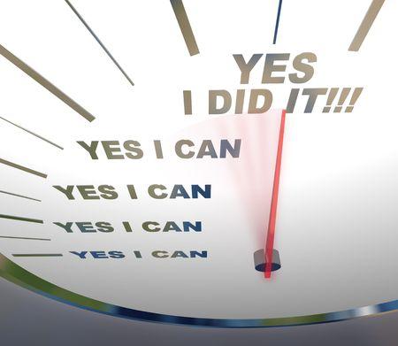 zelf doen: Een snelheidsmeter met rode naald wijzen op Ja ik Did It, symbolizing zelf vertrouwen Stockfoto