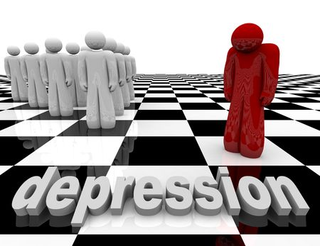 One figure stands apart from the group, symbolizing depression Stock Photo - 5317606