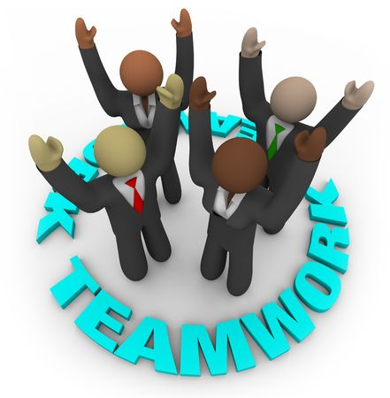 Four diverse team members cheering in a circle surrounded by the word Teamwork
