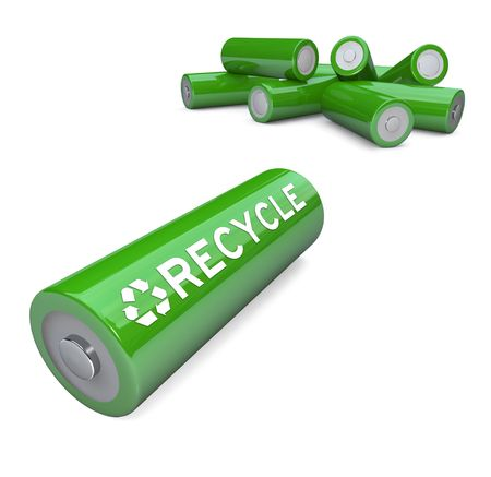 reusing: Several green AA batteries with the word Recycle and symbol