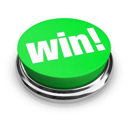 lottery: Een groene knop met het woord Win op het Stockfoto