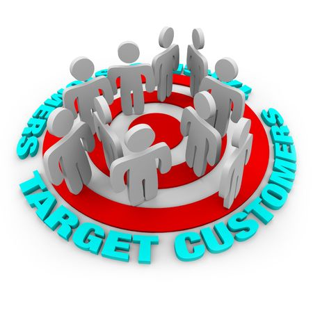 direct: Several customers stand on a red target surrounded by words Target Customers.