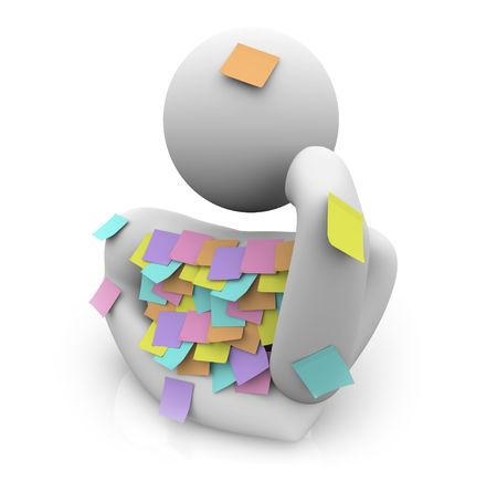memorize: A person covered in sticky notes tries to remember something he forgot