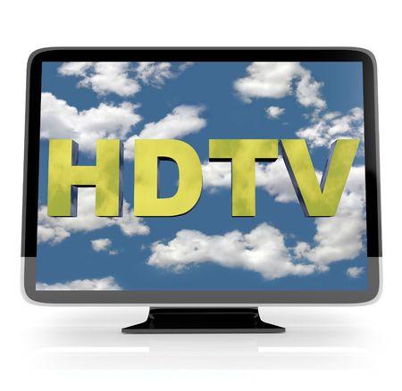 televised: An HDTV flatscreen television on white background
