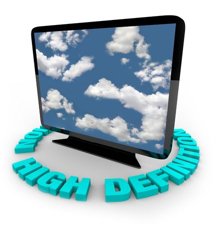 viewing angle: A widescreen HDTV on an angle with the words High Definition around it Stock Photo