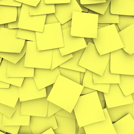 Many yellow sticky notes form a background