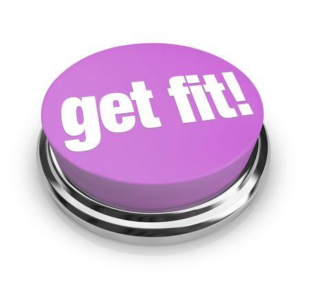 fit on: Un bot�n de color p�rpura con las palabras Get Fit en ella  Foto de archivo