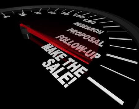 automotive industry: A speedometer with needle pointing to Make the Sale