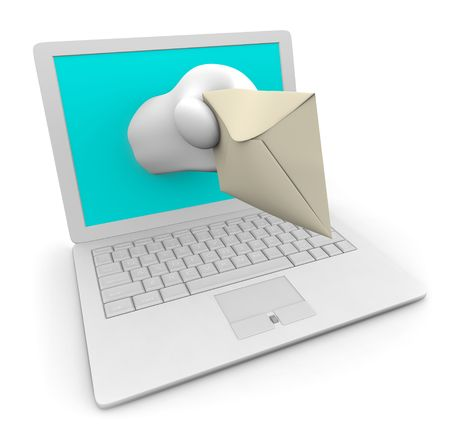 give out: A hand comes out of a white laptop to give you your e-mail Stock Photo