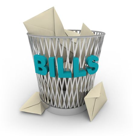 paying: Rid yourself of your bills -- throw them away in this shiny metal garbage basket
