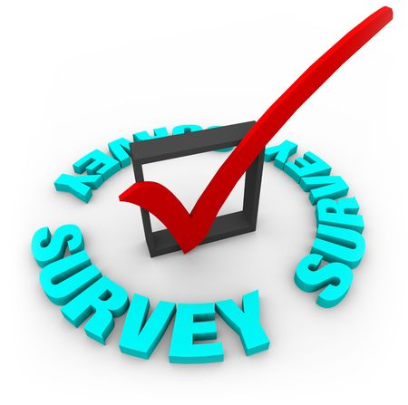 targeted: A red check mark in a blox, surrounded by the word Survey Stock Photo