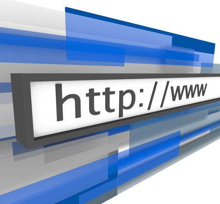 http: A web address bar featuring the familiar terms http and www Stock Photo
