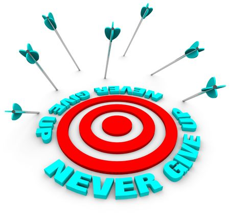 Many arrows miss a bulls-eye, surrounded by the words Never Give Up photo