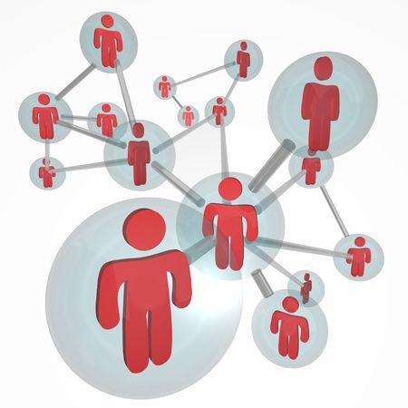 Een net werk van sociale verbindingen in de vorm van een molecule