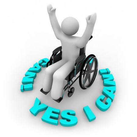 handicap people: Una persona determinada en una silla de ruedas con los brazos alzados rodeado por las palabras s� I Can Foto de archivo
