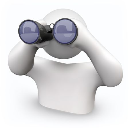 Een persoon ziet er door middel van verrekijker antwoorden op zijn vragen vinden Stockfoto