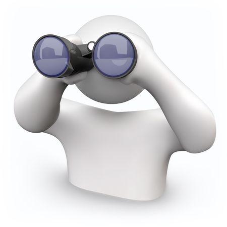 Una persona mira a través de los prismáticos para encontrar respuestas a sus preguntas