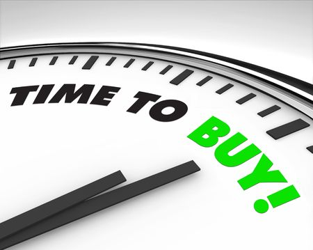 buy time: White clock with words Time to Buy on its face