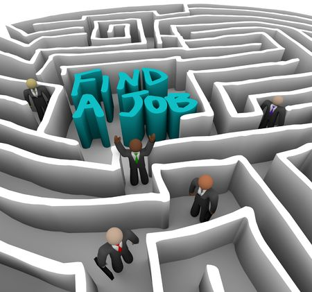 Several business people wander through a maze looking for a job