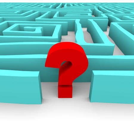 which: A red question mark stands in a blue labyrinth, symbolizing a challenge or confusion