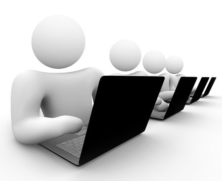 marketers: A bank of people working on black laptop computers Stock Photo