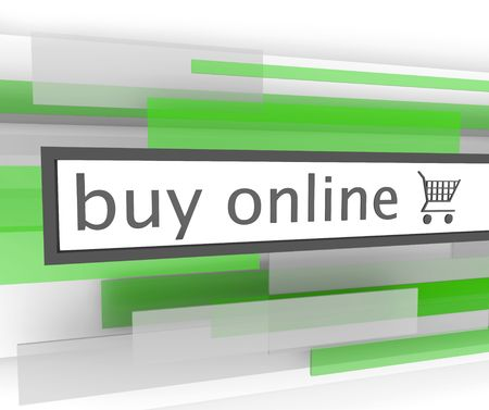buy online: A buy online bar with shopping cart to assist you in your purchases on the internet Stock Photo