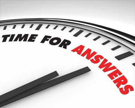 White Uhr mit Worten Time für Antworten auf der Vorderseite Standard-Bild