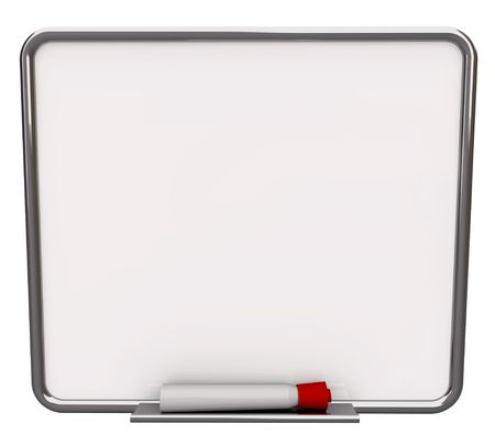A white dry erase board with red marker, with plenty of blank copy space for your message photo