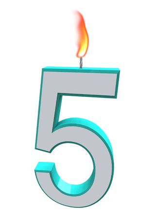 A blue and white number 5 candle with fire on wick Stock Photo - 5615600