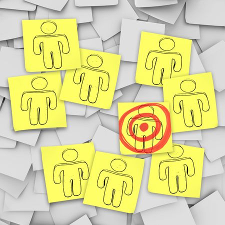 A targeted customer in a bulls-eye in this episode of Sticky Note Theatre. Stock Photo - 5615602