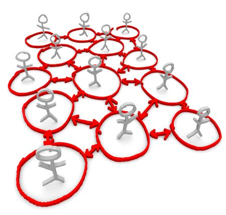 A network of people illustrated by stick figures standing in circles connected by arrows Stock Photo - 5639993