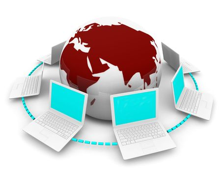 A global network of white laptop computers around planet Earth Stock Photo - 5639998