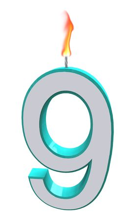 wick: A blue and white number 9 candle with fire on wick Stock Photo
