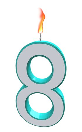 wick: A blue and white number 8 candle with fire on wick Stock Photo