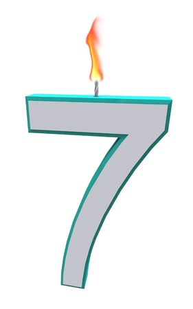 the wick: A blue and white number 7 candle with fire on wick Stock Photo