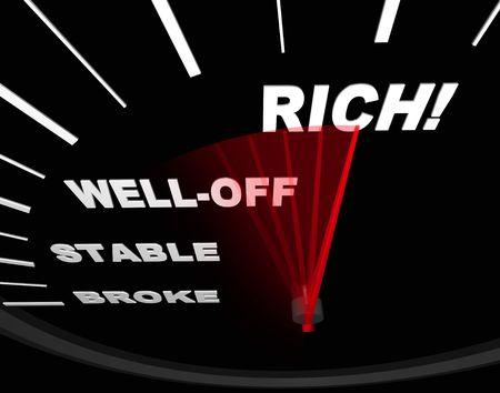 exceeding: Un indicador de velocidad con la aguja roja apuntando a la palabra Rich Foto de archivo