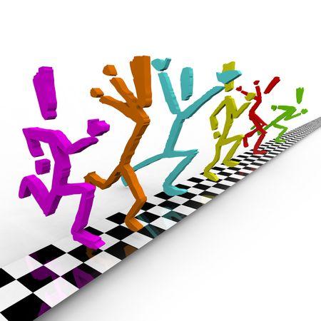 Een team van kleurrijke lopers finishlijn de op hetzelfde moment