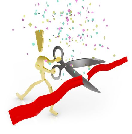 A gold person cuts the red ribbon with scissors for a grand celebration photo