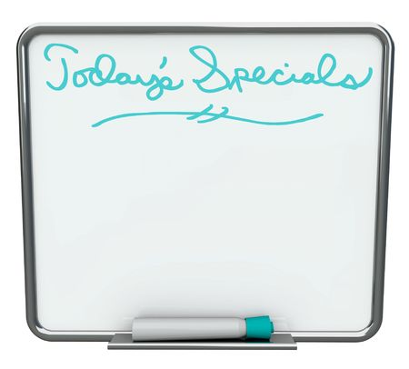 dry erase: A white dry erase board reading Todays Specials with blue marker, with plenty of blank copy space for your message Stock Photo